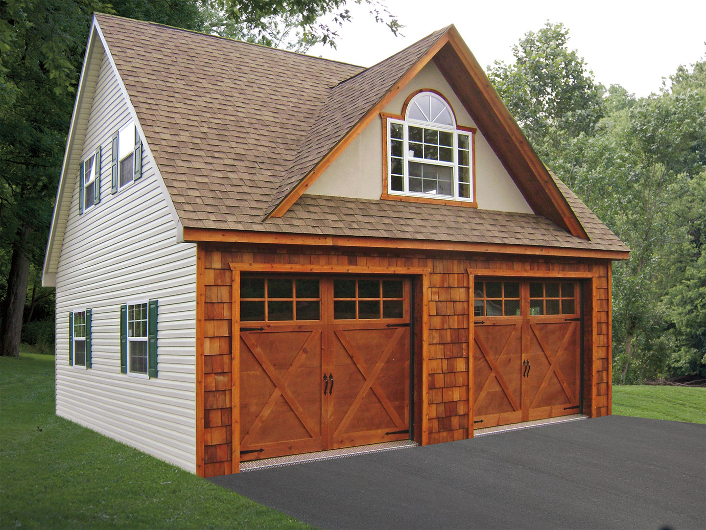Built on site custom amish garages in oneonta ny amish for Two car garage doors