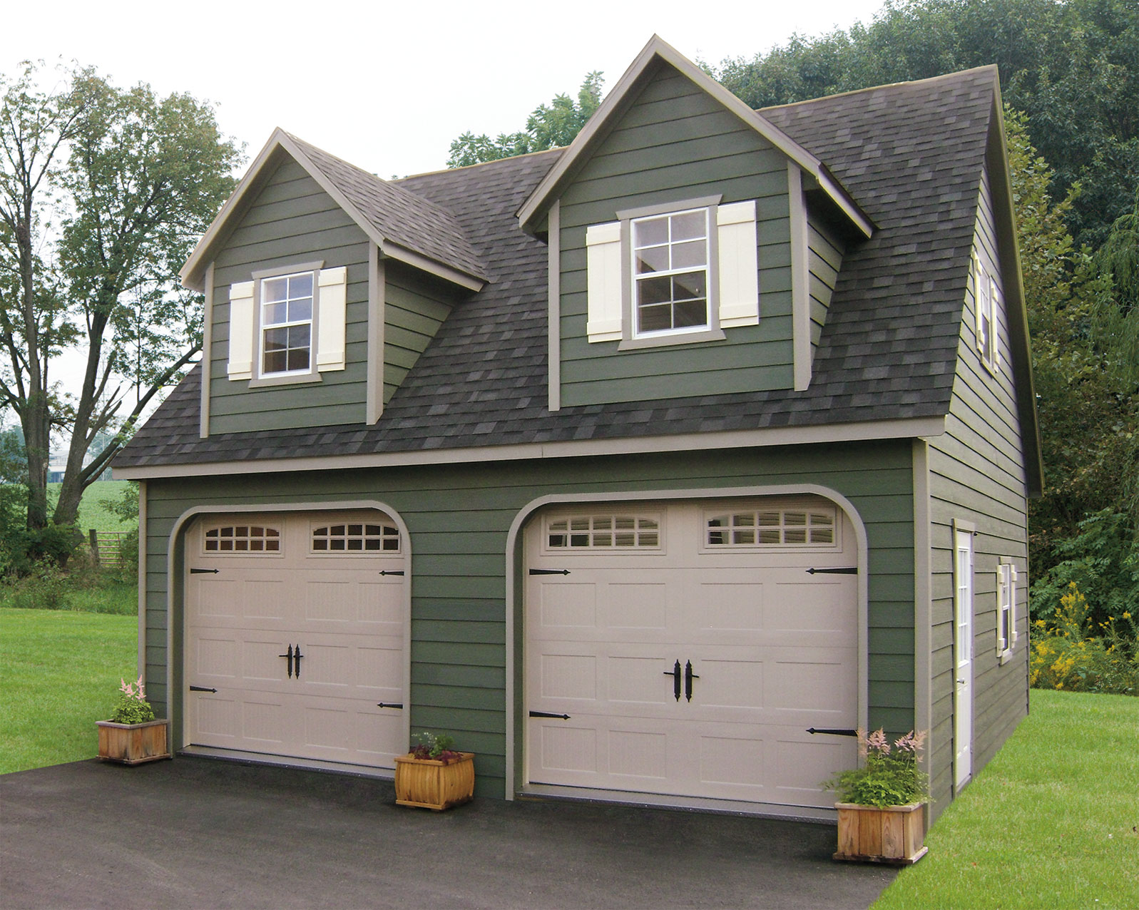 Built on site custom amish garages in oneonta ny amish for Two story car garage