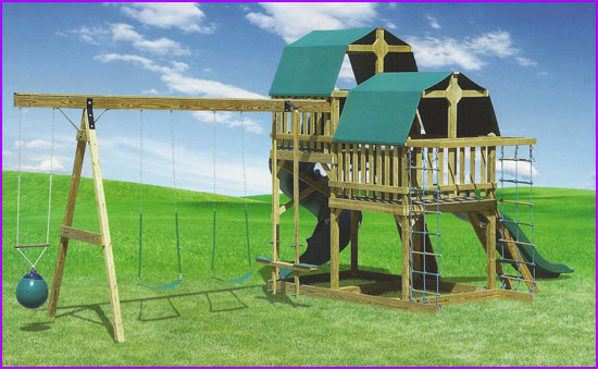 Double Loft Swing Set