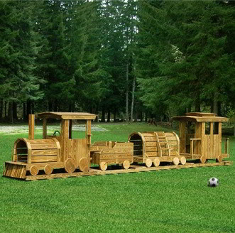 Amish Wood Train Outdoor Play Set