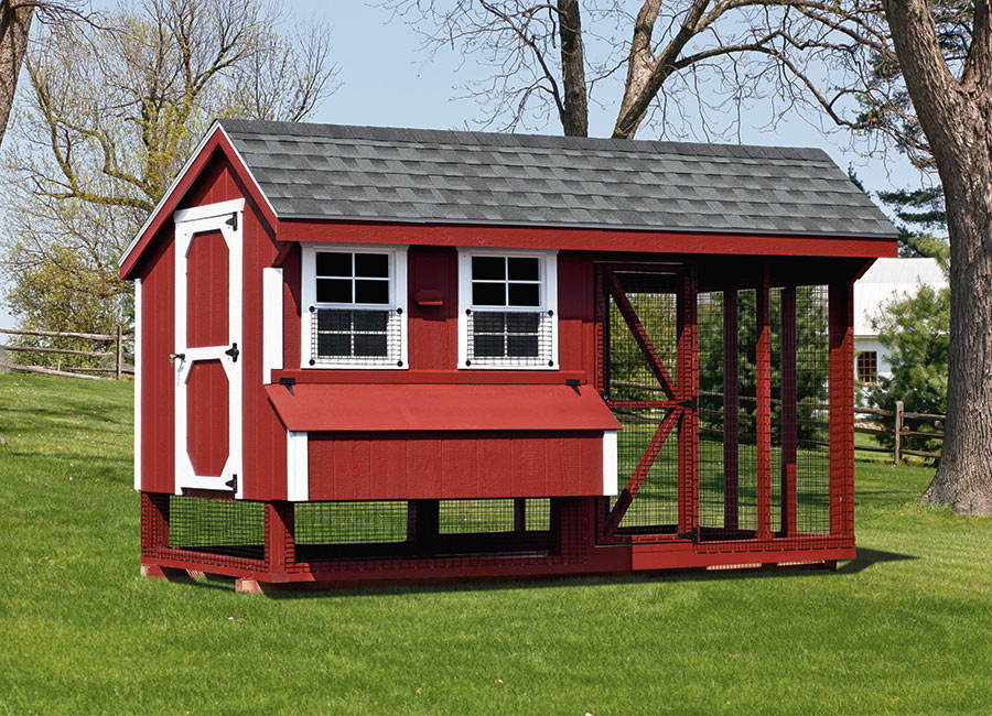 Red Chicken Coop Barn