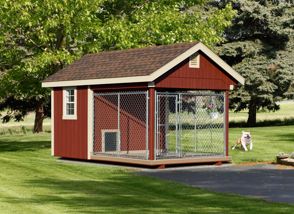 Wooden amish dog house dog kennel in oneonta ny amish for Dog boarding in homes