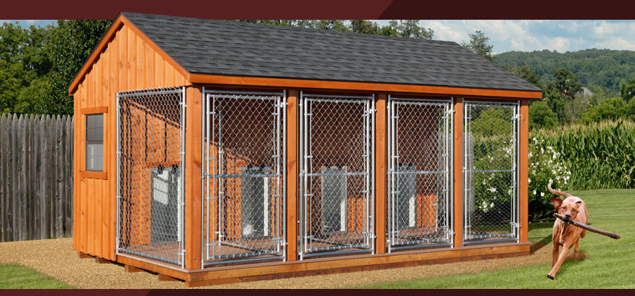 Wooden amish dog house dog kennel in oneonta ny amish for Indoor outdoor dog kennel design